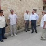 Outside the meeting. Left to right: Nektarios Koukoulis, (deputy mayor of Aegina, George Perdikis,collaborator of Dimitris Mourtzis, Dimitris Mourtzis (mayor-elect of Aegina), Alexis Krauss